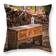 Holt Cemetery - God Is Love Bench Throw Pillow