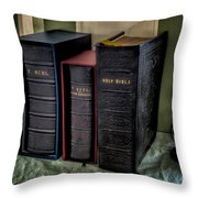 Holy Bibles Throw Pillow by Adrian Evans