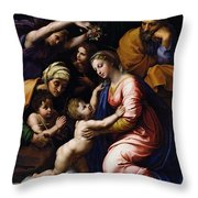Holy Family Known As The Grande Famille Of Francois I, 1518 Oil On Canvas Throw Pillow