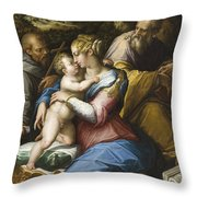 Holy Family With Saint Francis In A Landscape Throw Pillow