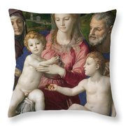 Holy Family With St. Anne And The Infant St. John Throw Pillow