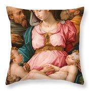 Holy Family With The Infant Saint John The Baptist And Saint Francis Throw Pillow by Giorgio Vasari