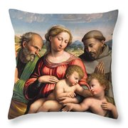 Holy Family With The Infant St. John The Baptist And St. Francis Throw Pillow