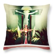 Adoration With Red Candles - Digital Painting Throw Pillow