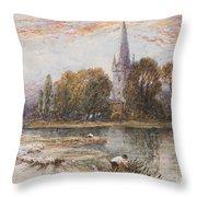 Holy Trinity Church On The Banks If The River Avon Stratford Upon Avon Throw Pillow