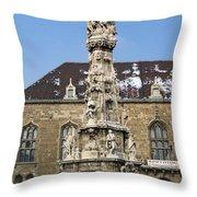 Holy Trinity Statue Budapest Throw Pillow