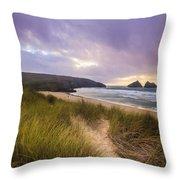 Holywell Bay Spectacular Sunset Throw Pillow