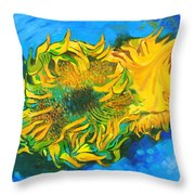 Homage To Dear Master Van Gogh Two Cut Sunflowers Throw Pillow