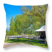 Home In Polebridge On West Side Of Glacier Np-mt Throw Pillow