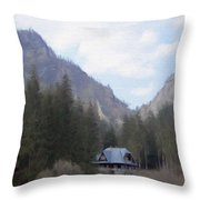 Home In The Mountains Throw Pillow