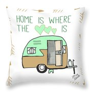 Home Is Where The Heart Is Campling Trailer Vintage Throw Pillow