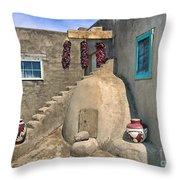 Home On Taos Pueblo Throw Pillow by Sandra Bronstein