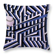Home Run In Blue Throw Pillow by Anthony Morris