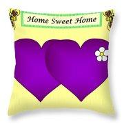 Home Sweet Home Purple Hearts 1 Throw Pillow