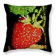 Homegrown Strawberry Mosaic Throw Pillow