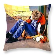Homeless In Seattle Throw Pillow