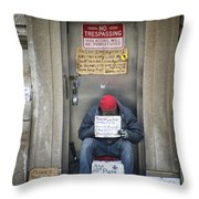 Homeless In The Usa Throw Pillow