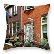 Homes Along The Canal In Enkhuizen-netherlands Throw Pillow