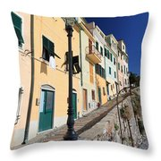Homes In Bogliasco Throw Pillow