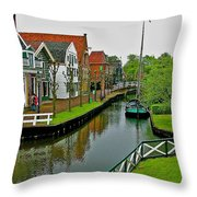 Homes Near The Dike In Enkhuizen-netherlands Throw Pillow