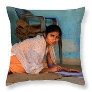 Homework Without A Desk Throw Pillow by Amanda Stadther