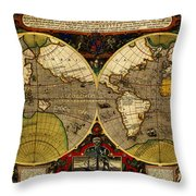 Hondius Map Of The World 1595 Throw Pillow