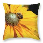 Honey Bee And Yellow Dahlia Flower Throw Pillow