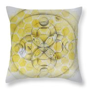 Honey Bee Mandala Throw Pillow