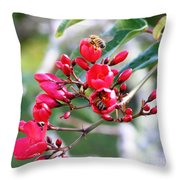 Honey Bee Working Throw Pillow