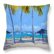 Honey Moon Beach Day Throw Pillow