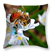 Honeybee And Squill Throw Pillow