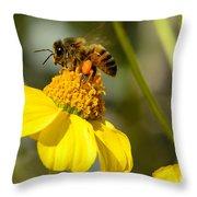 Honeybee Feasting On Nectar Of Yellow Flower Throw Pillow