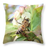 Honeybee In Blueberry Blossoms Throw Pillow