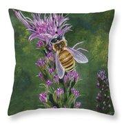 Honeybee On Liatis Throw Pillow