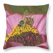 Honeybee On Pink Zinnia Throw Pillow
