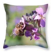 Honeybee On Purple Wall Flower Throw Pillow