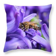 Honeybee Peeking Out Throw Pillow
