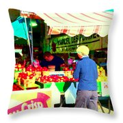 Honeycrisp Apples Fruit Stand Marcel Les Pommes St Joseph Du Lac  Food Art Scenes Carole Spandau Throw Pillow