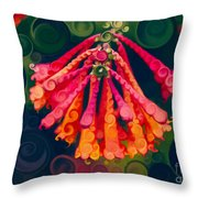 Honeysuckle Bloom In An Abstract Garden Painting Throw Pillow