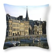 Honfleur Harbour. Calvados. Normandy. France. Europe Throw Pillow by Bernard Jaubert