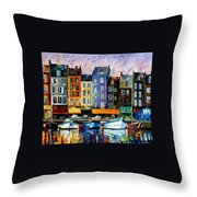 Honfleur-normandie - Palette Knife Oil Painting On Canvas By Leonid Afremov Throw Pillow