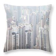 Hong Kong City In The Mist Throw Pillow