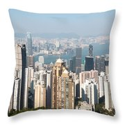 Hong Kong Harbor From Victoria Peak In A Sunny Day Throw Pillow by Matteo Colombo
