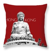 Hong Kong Skyline Tian Tan Buddha - Dark Red Throw Pillow