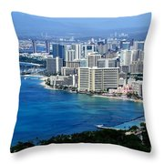 Honolulu And Waikiki From Diamond Head Throw Pillow