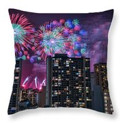 Honolulu Festival Fireworks Throw Pillow
