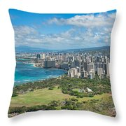 Honolulu From Diamond Head Crater Throw Pillow