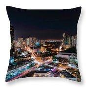 Honolulu Night Panorama Throw Pillow