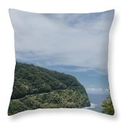 Honomanu Highway To Heaven Road To Hana Maui Hawaii Throw Pillow