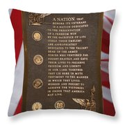 Honor The Veteran Signage With Flags 2 Panel Composite Digital Art Throw Pillow